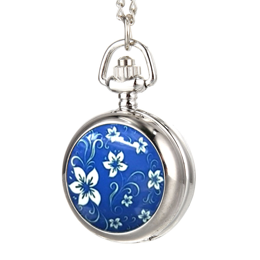 Fashion Vintage Women Pocket Watch Alloy Blue Flowers Pattern Lady Girl Sweater Chain Necklace Pendant Clock Gifts  TT@8