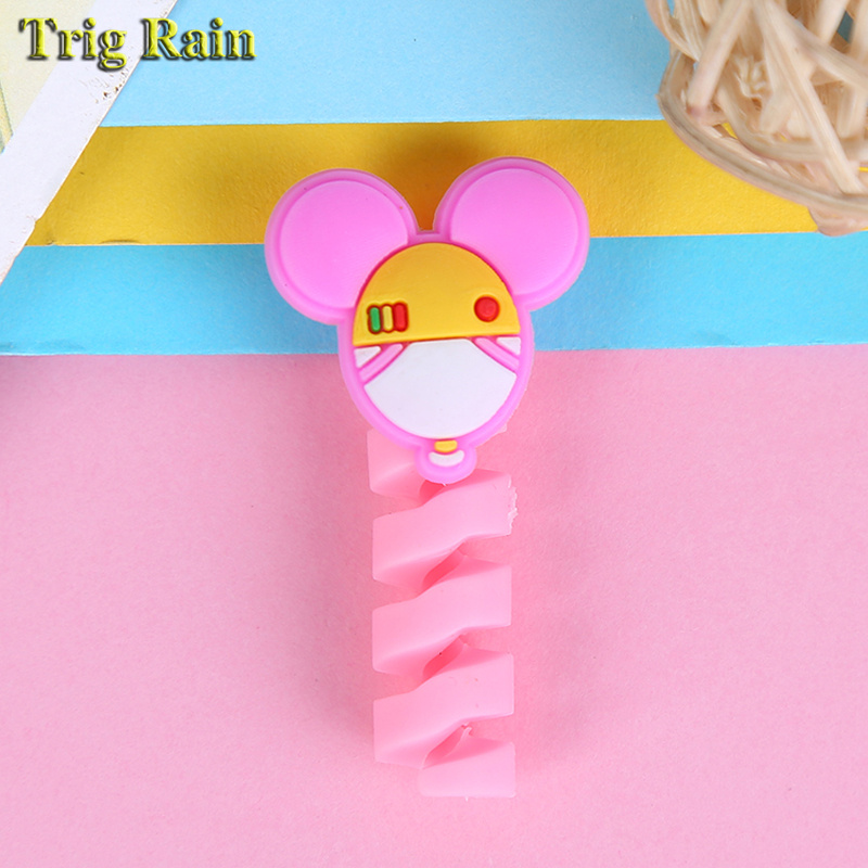 HTB1Wr.2EDlYBeNjSszcq6zwhFXai Cartoon Spiral Cable protector Data Line Silicone Bobbin winder Protective For iphone Samsung Android USB Charging earphone Case