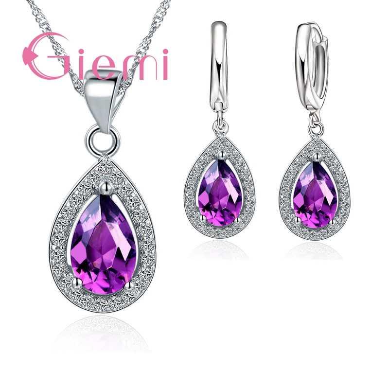 Luxury Real 925 Sterling Silber Schmuck Set Wasser Tropfen Zirkonia CZ Stein Hochzeit Party Hoop Ohrringe Anhänger Halsketten