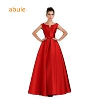 abule long evening dresses 2017 summer elegant v neck formal party dress vestidos de festa V opening back lace up dresses