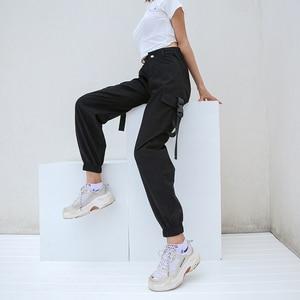 Image 3 - HEYounGIRL Streetwear מכנסיים מטען נשים רצים מקרית שחור גבוה מותן רופף נשי מכנסיים קוריאני סגנון גבירותיי מכנסיים קאפרי