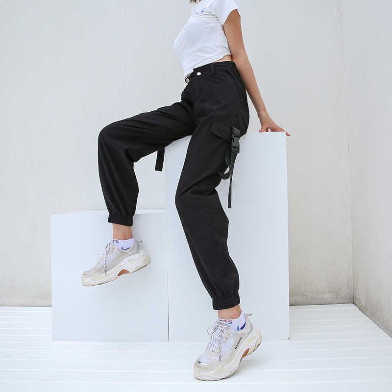 HEYounGIRL ストリート貨物パンツ女性カジュアルジョギング黒ハイウエスト緩い女性のズボン韓国風レディースパンツ
