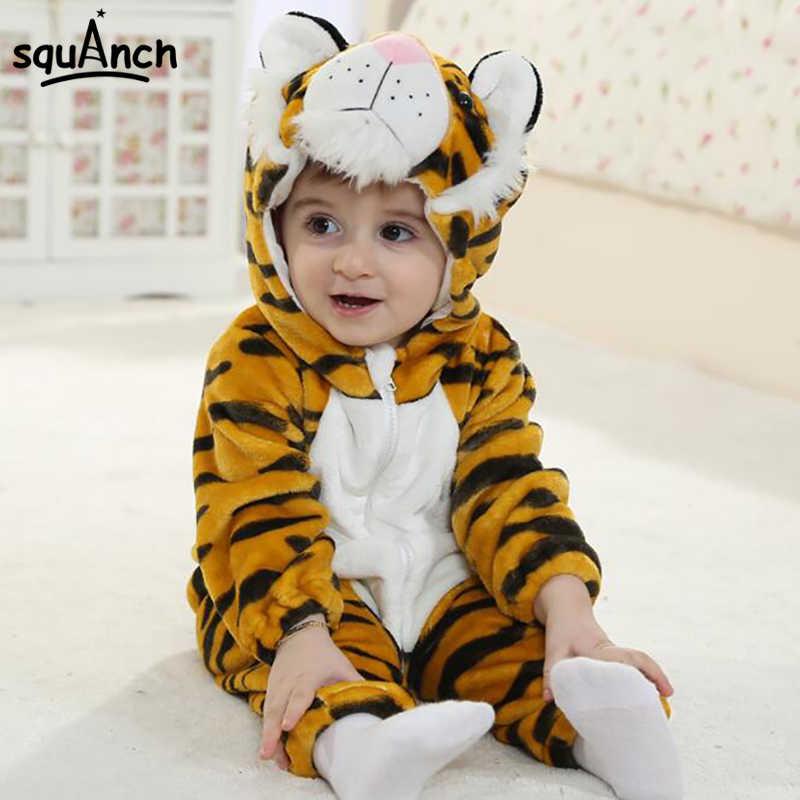 bb99a51f5 Cartoon Animal Tiger Baby Onesie Kids Kitty Kigurumi Cute Soft Warm  Onepiece Jumpsuit Infant Twins Spring
