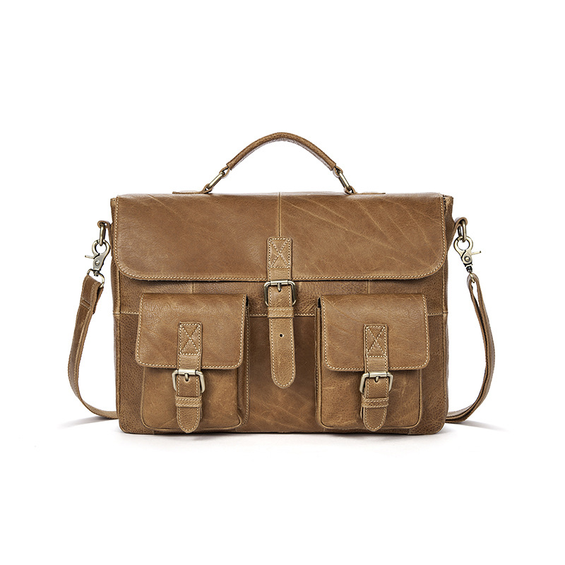 Genuine Leather Men Handbags Male Briefcase Large Laptop Computer Bag Travel Messenger Shoulder Bag Crossbody Bags Bolsos Hombre