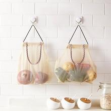 luluhut מטבח ירקות שקית אחסון חלול נשימה פרי רשת אחסון לתלות בצל שום בצל ג 'ינג' ר אחסון