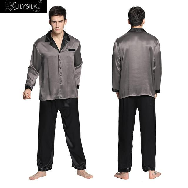 Lilysilk Шелковые Пижамы Мужские Пижамы Ночная Пижама Чисто Китайской Чистой Мягкой 22 Momme Черный Манжеты Мужской Luxury Lounge Носить Бренд