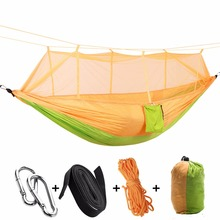 Купить с кэшбэком Outdoor Survival Mosquito Netted Hammock Hanging 2 Person Secure Hamak For Sleeping Jungle Swing Hamac Travel Kits Stitching