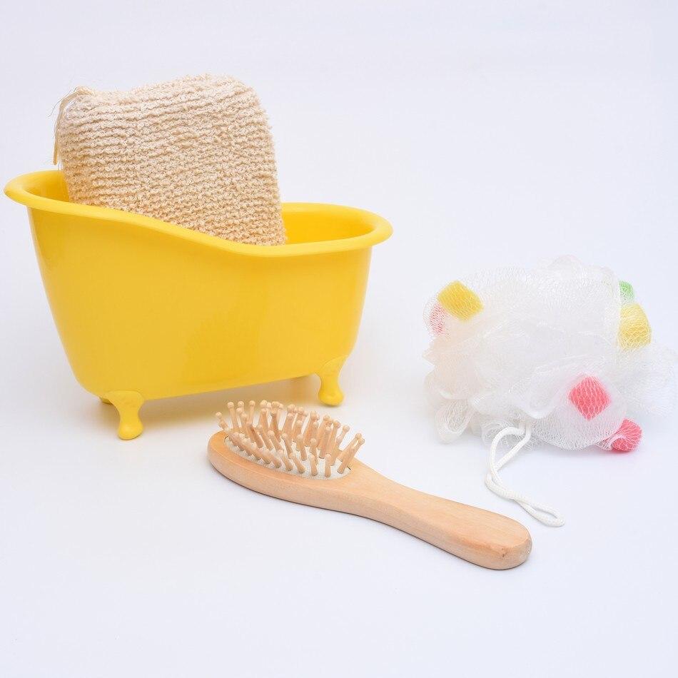 vasca da bagno in legno set 4 pzset spugna da bagno pettine fiore vasca