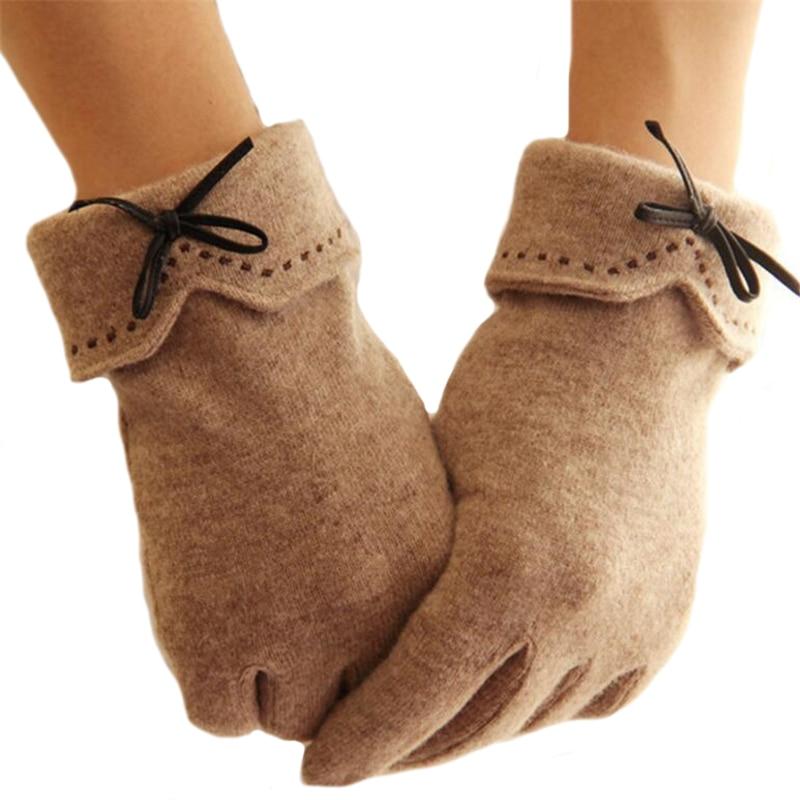 CHSDCSI Cashmere Mittens Women's Winter Gloves Full Fingers Bow Style Cotton Wool Elegant Warm Mitaine Guantes Women Ski Mittens
