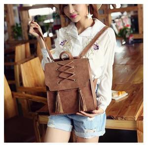 Image 5 - 1 piece Pu Leather bandage Tassel Square Weave Women Backpack School bag for teenager Girls Female