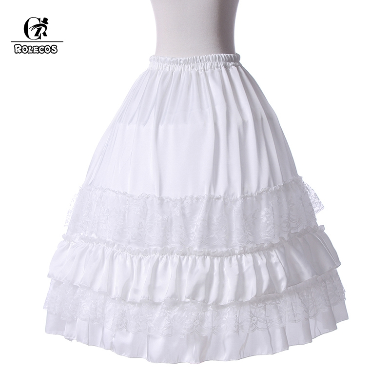ROLECOS Lace Chiffon Underskirt Medieval Dress Petticoat for Lolita Women Dress Ball Gown Dress Underskirt Wedding Costume