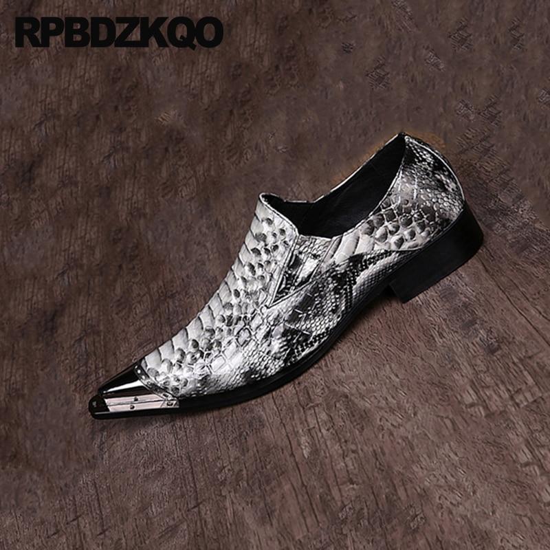 Pointed Toe Snake Skin Snakeskin Wedding Prom Men Rubber Sole Dress Shoes Python Leather Oxfords Alligator Crocodile Brogue Shoes