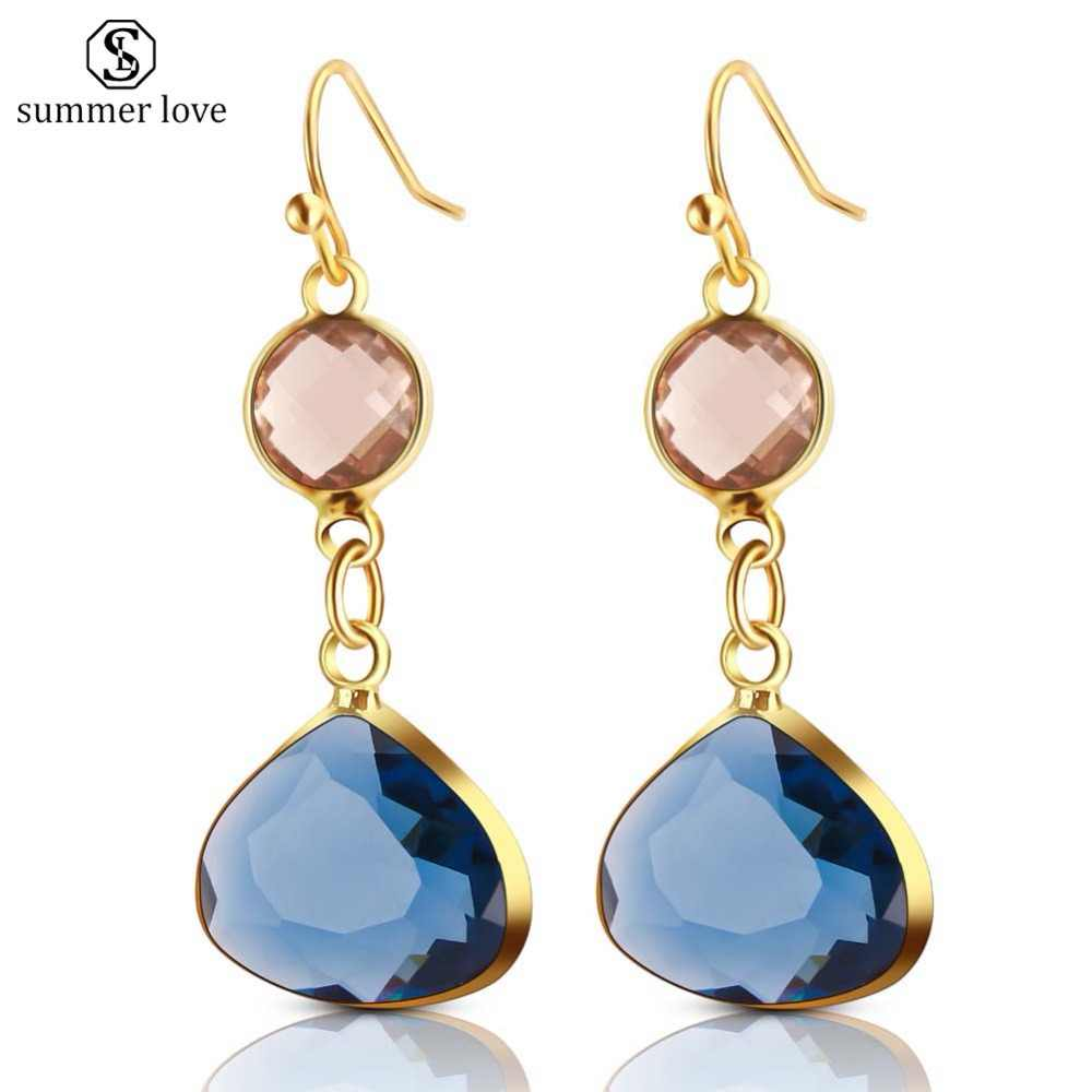 2019 New Women's Fashion Crystal Earrings Rhinestone Blue/Pink Glass Black Copper Sweet Metal Ear Earrings For Girl Gift