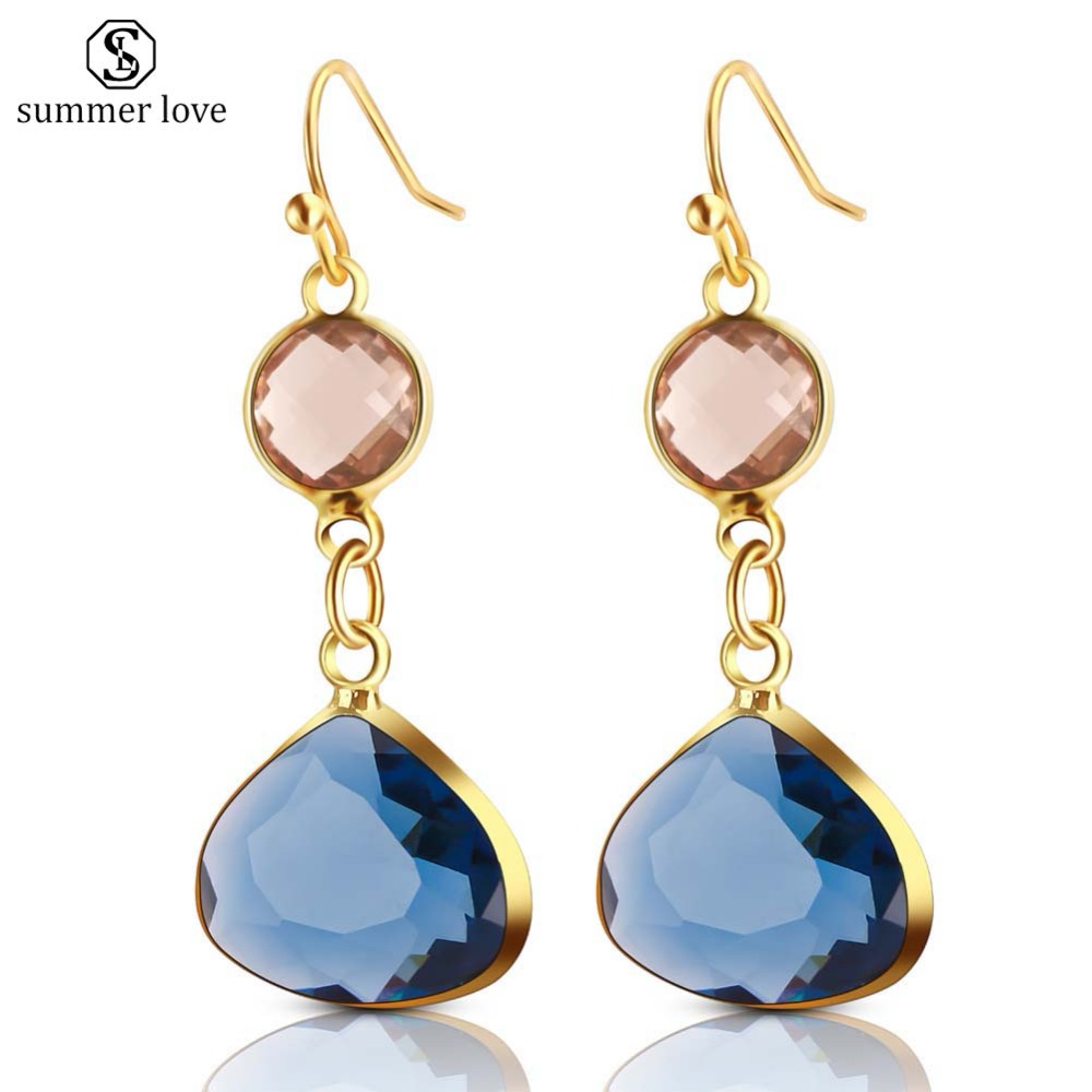 2020 New Women's Fashion Crystal Earrings Rhinestone Blue/Pink Glass Black Copper Sweet Metal Ear Earrings For Girl Gift