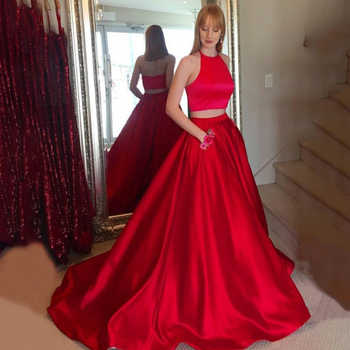 Halter Long Red Prom Dresses Two Pieces A Line Sleeveless Sweep Train Evening Formal Party Dress with Pockets Vestido De Fiesta - DISCOUNT ITEM  0% OFF All Category
