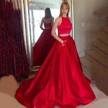 Halter longo vermelho vestidos de baile duas peças a linha sem mangas varredura trem noite formal vestido de festa com bolsos vestido de fiesta