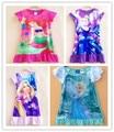 Edad 7-14 Niñas vestido de Cenicienta vestidos de verano 2016 anna Elsa rapunzel Cenicienta vestido de adolescente vestido de tamaño 10 12 14 años de edad