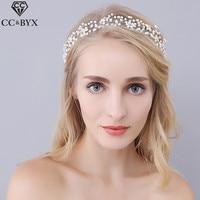 CC Jewelry Wedding Headband Bridal Crown Hairband Wedding Hair Accessories For Women Party Freshwater Pearls Bride Headwear 0940