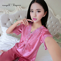 Wholesale female pajama big size M-XXL pajamas summer women floral lace v neck pijamas for sleeping