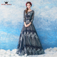 QUEEN BRIDAL Evening Dresses A Line 3 4 Sleeve Sequin Beading Luxury Prom Gown Long Party