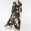 2017 Spring Women Floral Print Shirt Dress Lapel Three-Quarter Sleeve Casual Ankle-length Dresses Brand vestido longo FFWMA04