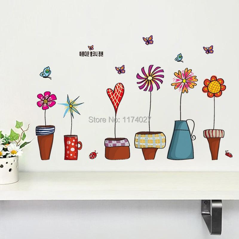 De înaltă calitate de desene animate de flori fluture perete - Decoratiune interioara
