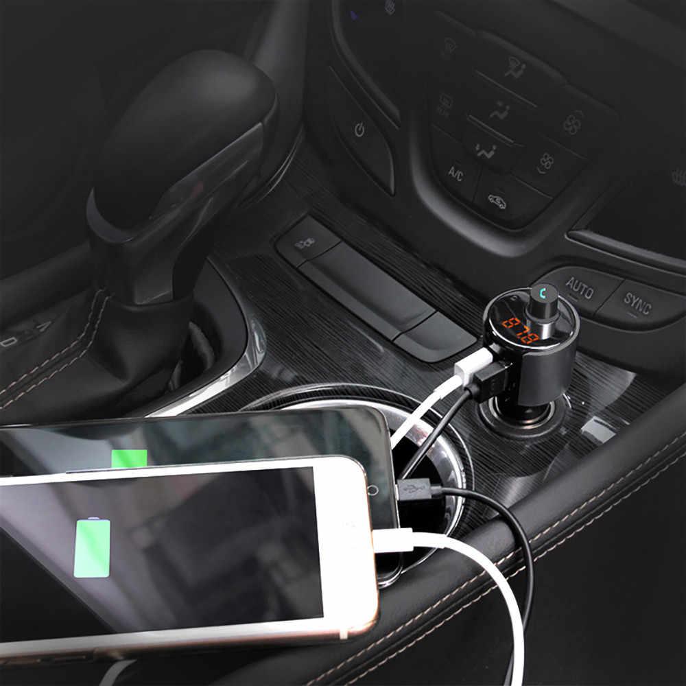 自動多機能 Bluetooth 車載 MP3 プレーヤー FM 無線送信機デュアル USB 液晶充電器キットハンズフリーヴィンテージラジオ