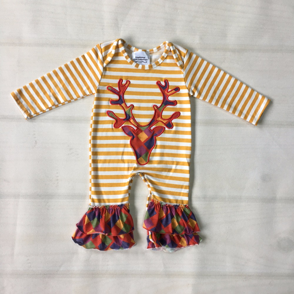d8ab56794657 Christmas Persnickety New Fashion Baby Romper Long Sleeve Baby Deer  Embroidery Multiple layers Ruffle Clothes Kid Rompers R019