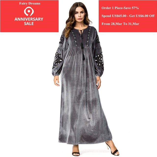 da9f8170098c Velvet Abayas For Women Flowers Embroidery Silver Muslim Dress Kaftan  Turkish Arab Dubai Islamic Plus Size