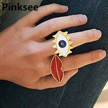 Vintage Retro Europe Punk Gothic Exaggerated Turkish Evil Eye Rings For Women Girls Red Lip Charm Ring Simple Jewelry Adjustable