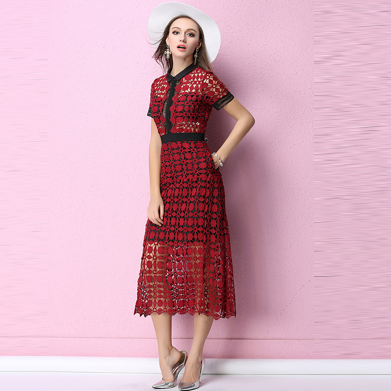 Lange kanten jurk rood