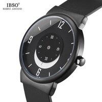 IBSO 7 8MM Ultra Thin Creative Mens Watches 2018 Black Silicone Strap Moon Pointer Sport Quartz