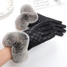 MIARA.L New han edition of high-grade sheepskin with velvet winter warm leather touch gloves leather gloves rabbit fur gloves