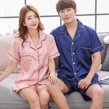 Pajamas Women Summer 2019new Sexy satin satin pyjama Lapel Shirt Shorts 2 pcs Lovers Pajamas Solid plus Size couple pijama mujer