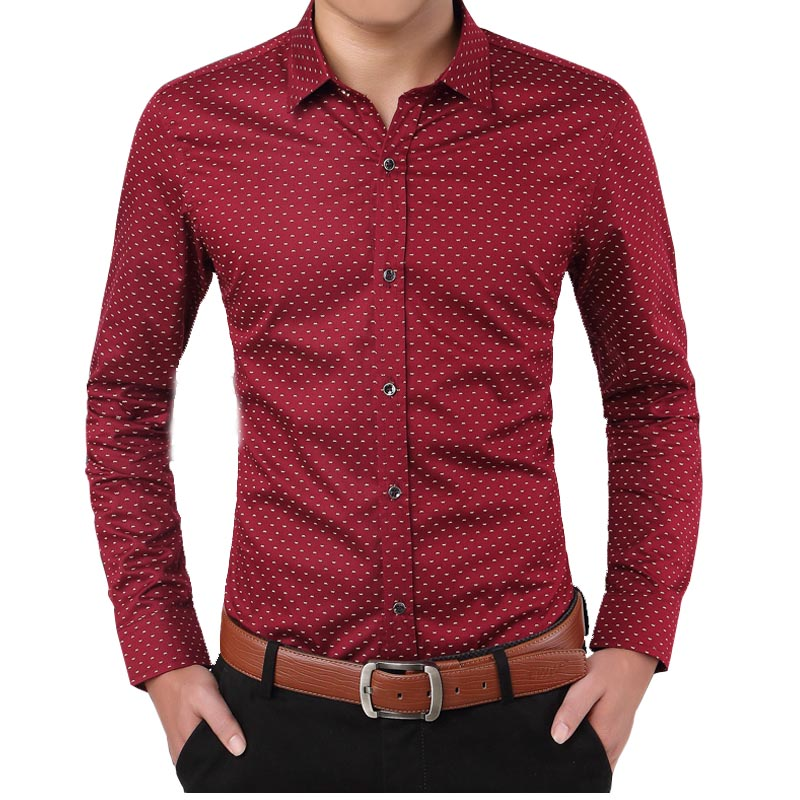 New Fashion Design Cotton Men's Shirts Casual Slim Fit Print Button Down Red White Khaki Long Sleeve Shirt Camisa 4XL 5XL