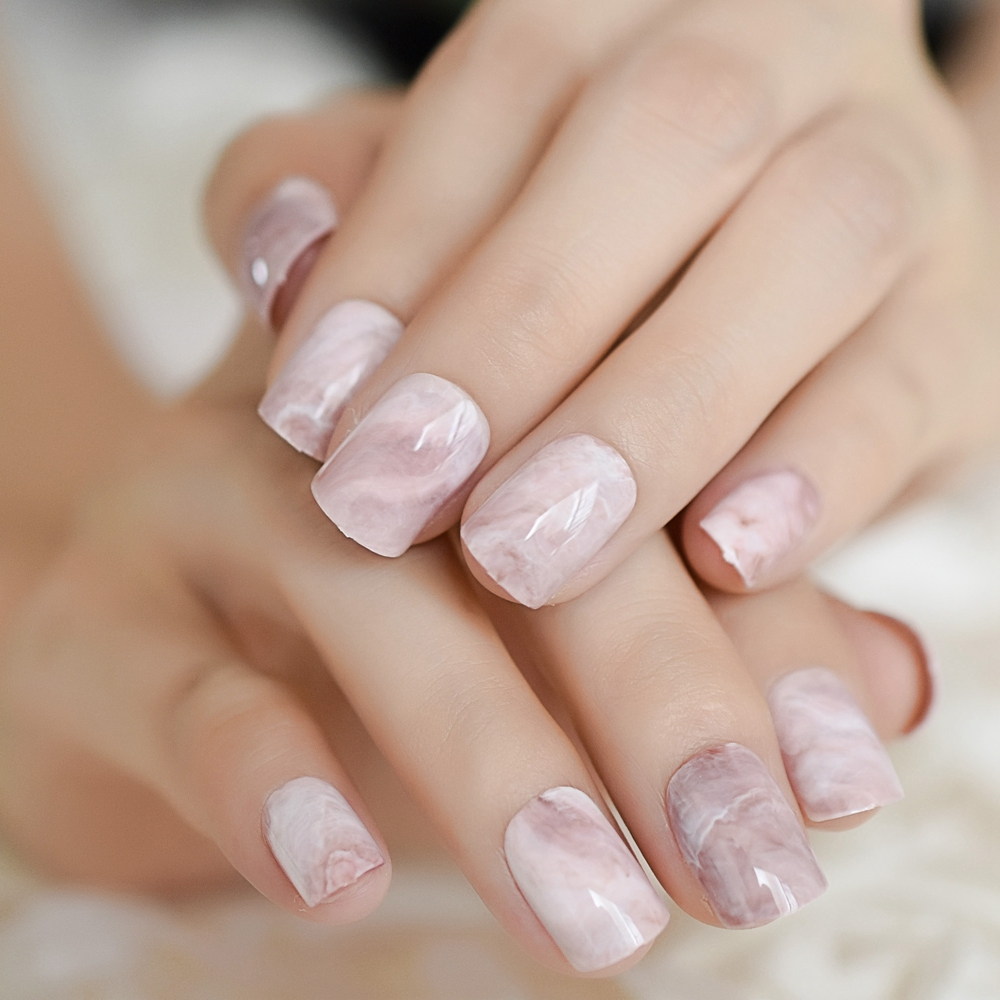 Light Pink Marble Shiny Nail Tips Kit Short Square Oval Por Fake Nails Mirror Full Cover Finshed Uv Salon Z960 In False From Beauty Health