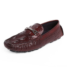 QYFCIOUFU Casual Shoes Men Loafers Genuine Leather Moccasin Crocodile Pattern Footwear Slip On Flat Driving Boat Shoes Classical