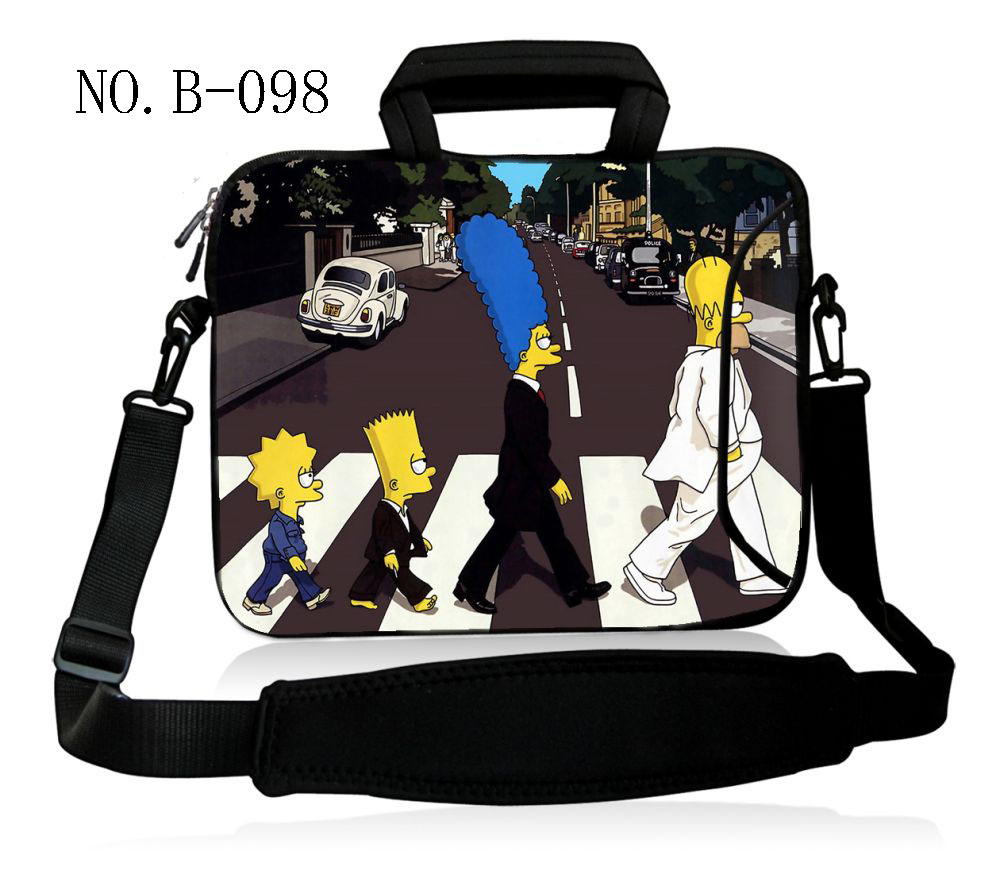 Family Cartoon 13.3 14 15.6 17 Inch Laptop Handbag Black Shoulder Bag Protective Case Cover For Macbook Pro Air Reina Hp Sony