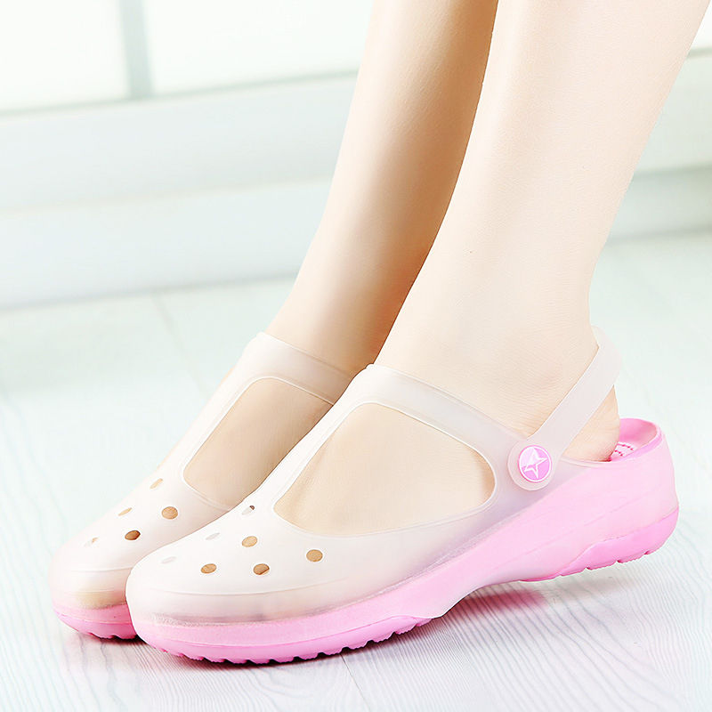 Summer Women Sandals Jelly Garden Flat Shoes Waterproof Soft Light Slides Female Ankle Buckle Slippers Casual Beach Shoes