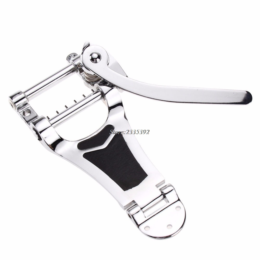 Chrome Tremolo Vibrato Bridge Tailpiece Hollowbody Archtop For Guitar black 6 string saddle guitar tailpiece tremolo bridge for headless guitar replacement