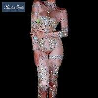 Christia Bella Sexy Nude Rhinestone Jumpsuit Crystals Elastic Bodysuits Women Nightclub DJ Singer Stage Costumes Pole Dancing