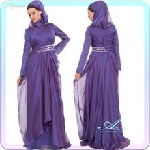 vestido de festa Long sleeve Muslim Evening Dresses with High Back Purple Chiffon Islamic Formal Dresses with Hijab