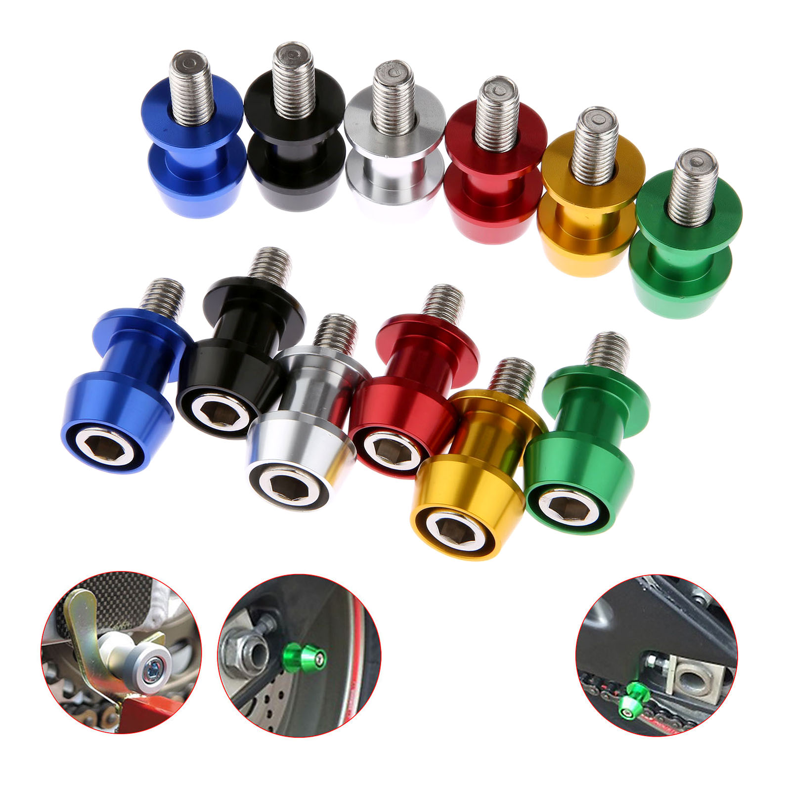 2Pc 8mm 10mm Motorcycle CNC Swingarm Swing Arm Spools Sliders Bobbins For Kawasaki Z800 Honda Suzuki Ducati Z8W ZX6R BMW S1000RR 2pcs universal motorcycle stand screws cnc swingarm swing sliders spools m6 m8 m10 for yamaha r3 honda crf 450 suzuki gn250