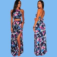 Women Elegant Summer Two Piece Set Sexy Club Outfits Sleeveless Short Crop Top and Skirt Maxi Dress 2019 Summer Print Clothing