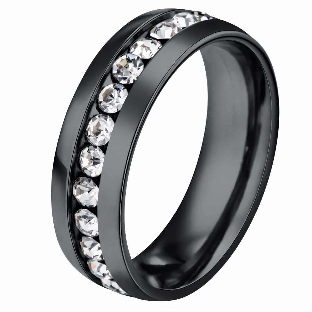 ELSEMODE, титановое кольцо из нержавеющей стали, CZ камень, для женщин, обручальное кольцо, классическое кольцо для влюбленных, пара колец на День святого Валентина, Bijoux