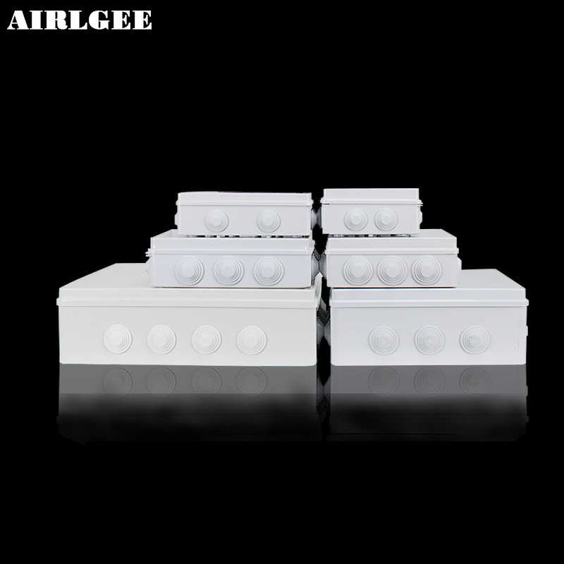 White ABS Plastic Waterproof Dust-proof Junction Box 36mm Open hole DIY Electrical Connection Outdoor Monitor Distribution box ...
