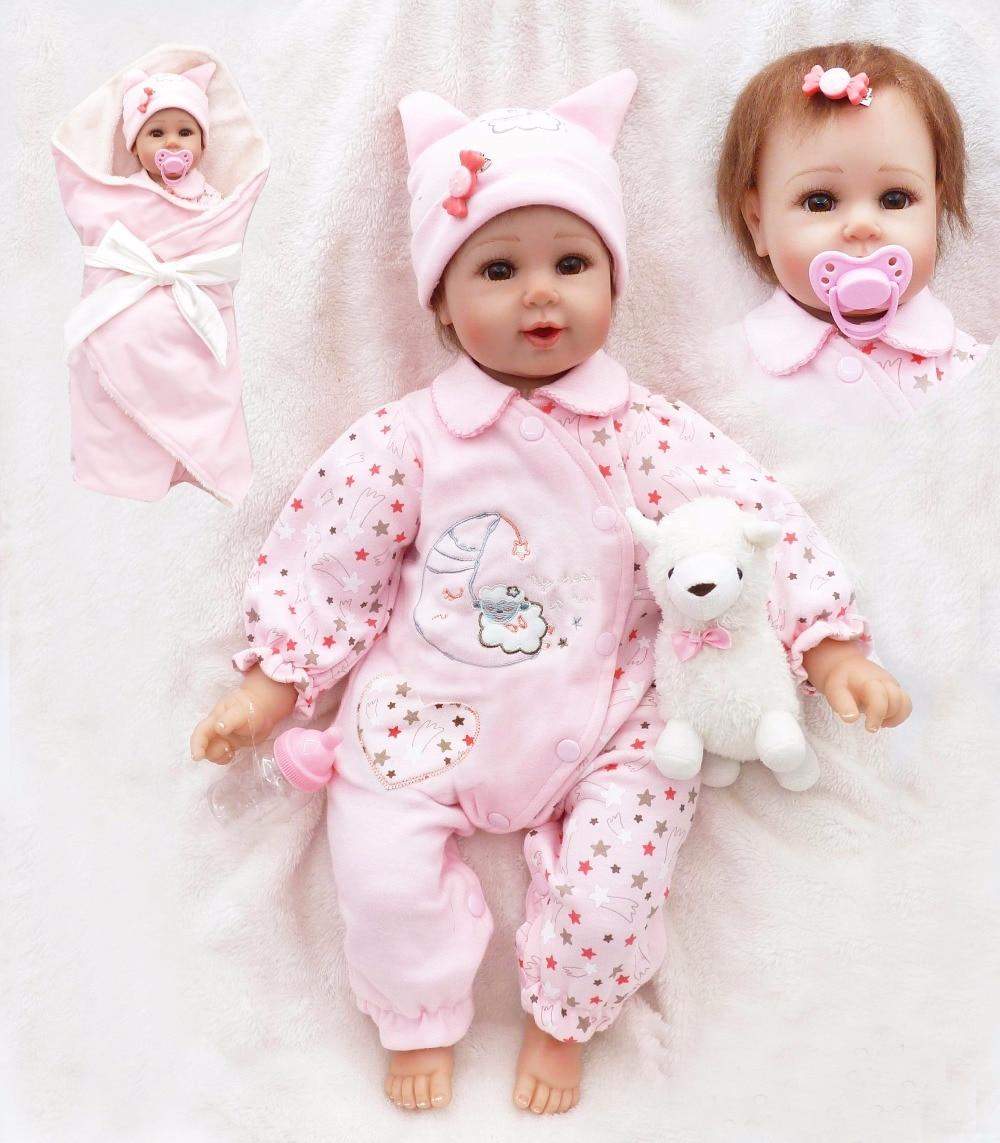 DollMai doll reborn 50cm silicone reborn baby dolls for children gift bebe lifelike reborn bonecas brinquedo with pink quilt pac