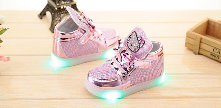 Girls shoes baby Hook Loop led shoes kids light up glowing sneakers toddler Girls princess children shoes girls with light 11
