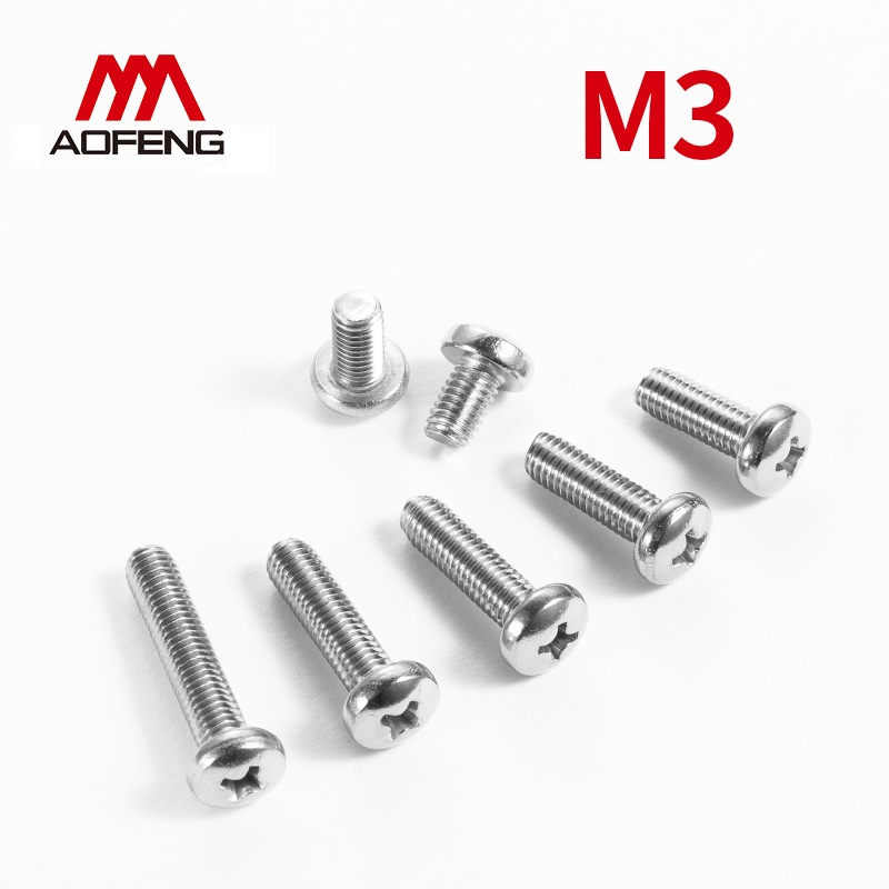 M3x4 5 6 8 10 12 14 16 18 20 22 25 28 30 35 40 45 50 <font><b>55mm</b></font> 304 Stainless Steel Cross Recessed Pan Round Head Machine Screws image