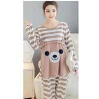 Maternity Breastfeeding Sleepwear Nursing Pajamas Set Long Sleeve Loose Clothes For Pregnant Women Cotton D0031
